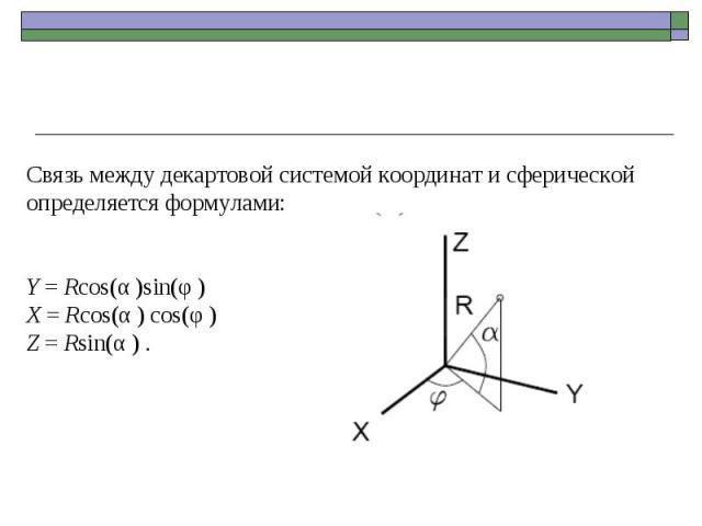 Связь между декартовой системой координат и сферической определяется формулами: Y = Rcos(α )sin(φ ) X = Rcos(α ) cos(φ ) Z = Rsin(α ) .