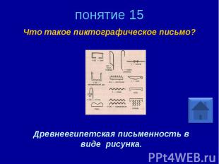 понятие 15 Что такое пиктографическое письмо? Древнеегипетская письменность в ви