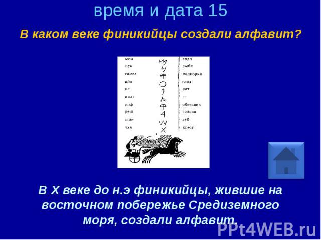 время и дата 15 В каком веке финикийцы создали алфавит? В X веке до н.э финикийцы, жившие на восточном побережье Средиземного моря, создали алфавит.