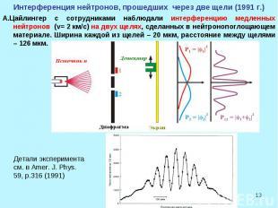 * Интерференция нейтронов, прошедших через две щели (1991 г.) А.Цайлингер с сотр