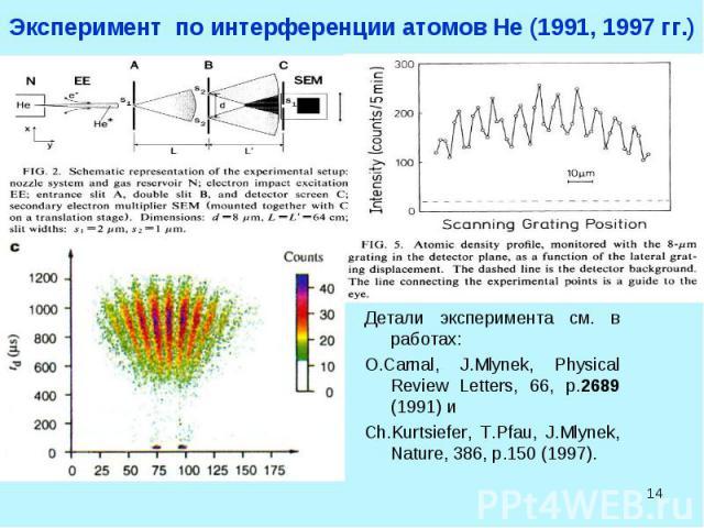 * Эксперимент по интерференции атомов He (1991, 1997 гг.) Детали эксперимента см. в работах: O.Carnal, J.Mlynek, Physical Review Letters, 66, p.2689 (1991) и Ch.Kurtsiefer, T.Pfau, J.Mlynek, Nature, 386, p.150 (1997).