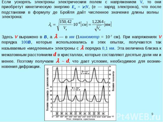 * Если ускорять электроны электрическим полем с напряжением V, то они приобретут кинетическую энергию Ee = |e|V, (е — заряд электрона), что после подстановки в формулу де Бройля даёт численное значение длины волны Здесь V выражено в В, а — в нм (1на…