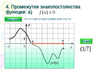 4. Промежутки знакопостоянства функции: а) Ответ y=f(x) Подсказка Это те х при к