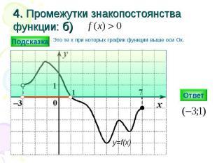 4. Промежутки знакопостоянства функции: б) Ответ y=f(x) Подсказка Это те х при к