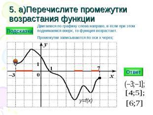 5. а)Перечислите промежутки возрастания функции Ответ y=f(x) Подсказка Двигаемся