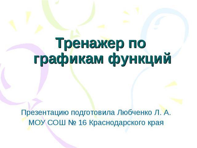 Тренажер по графикам функций Презентацию подготовила Любченко Л. А. МОУ СОШ № 16 Краснодарского края