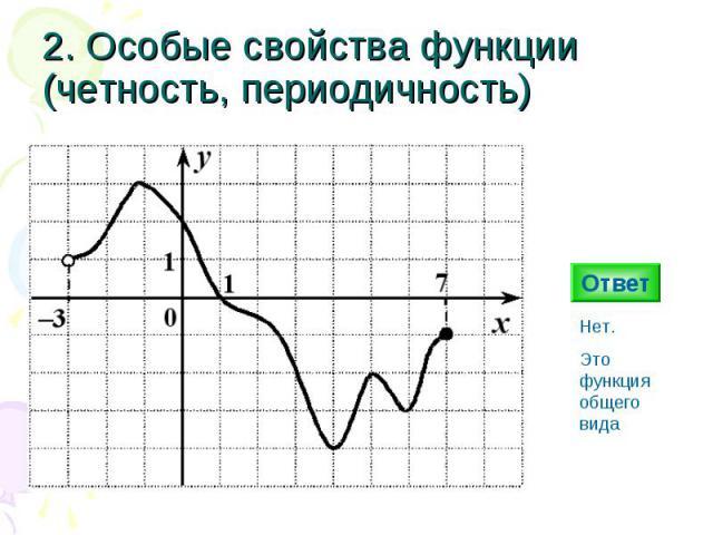 2. Особые свойства функции (четность, периодичность) Ответ Нет. Это функция общего вида