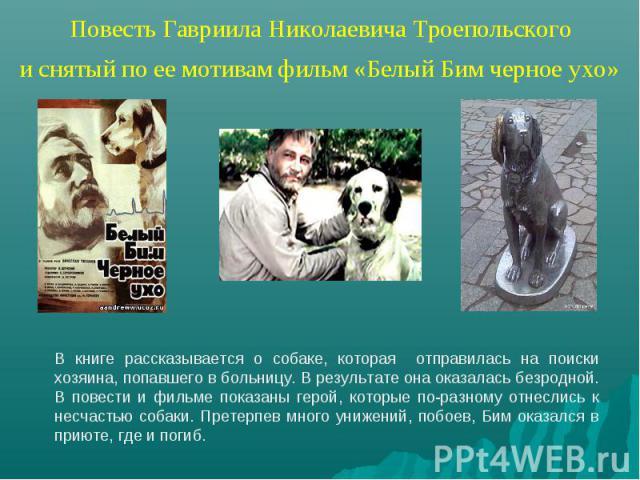 Повесть Гавриила Николаевича Троепольского и снятый по ее мотивам фильм «Белый Бим черное ухо» В книге рассказывается о собаке, которая отправилась на поиски хозяина, попавшего в больницу. В результате она оказалась безродной. В повести и фильме пок…