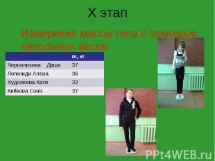 X этап Измерение массы тела с помощью напольных весов. m, кг Чернолихова Даша 37
