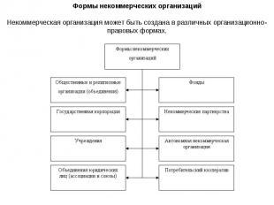 Формы некоммерческих организаций Некоммерческая организация может быть создана в