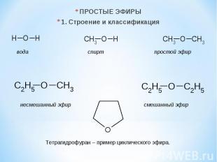 ПРОСТЫЕ ЭФИРЫ 1. Строение и классификация вода спирт простой эфир несмешанный эф