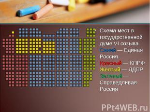 Схема мест в государственной думе VI созыва. Синий — Единая Россия Красный — КПР