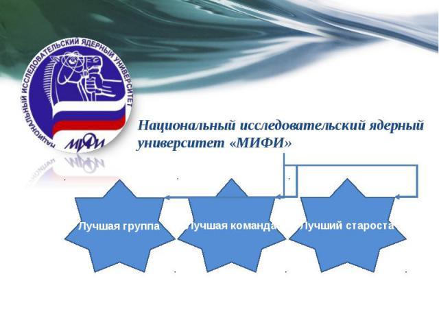 Лучшая группа Лучшая команда Лучший староста Национальный исследовательский ядерный университет «МИФИ»