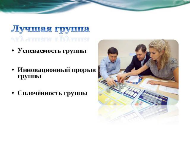 Успеваемость группы Инновационный прорыв группы Сплочённость группы