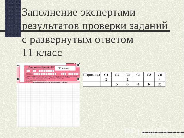 Заполнение экспертами результатов проверки заданий с развернутым ответом 11 класс
