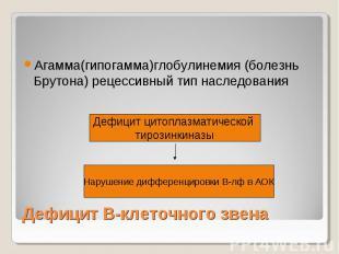 Дефицит В-клеточного звена Агамма(гипогамма)глобулинемия (болезнь Брутона) рецес