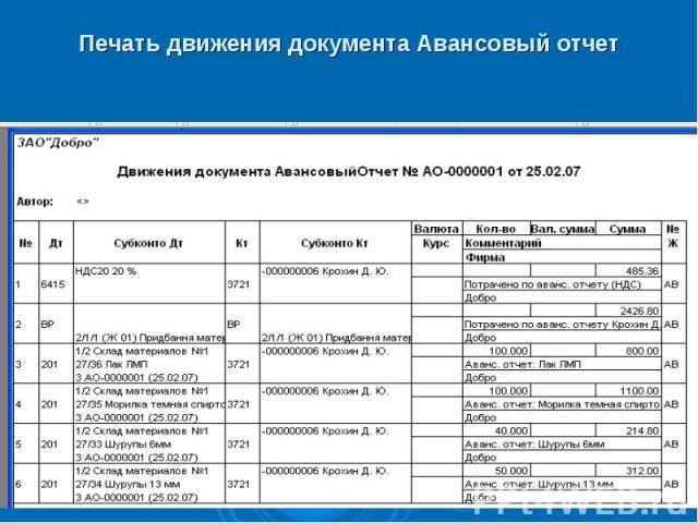 Печать движения документа Авансовый отчет