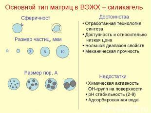 Основной тип матриц в ВЭЖХ – силикагель Сферичность Размер частиц, мкм 3 5 10 Ра