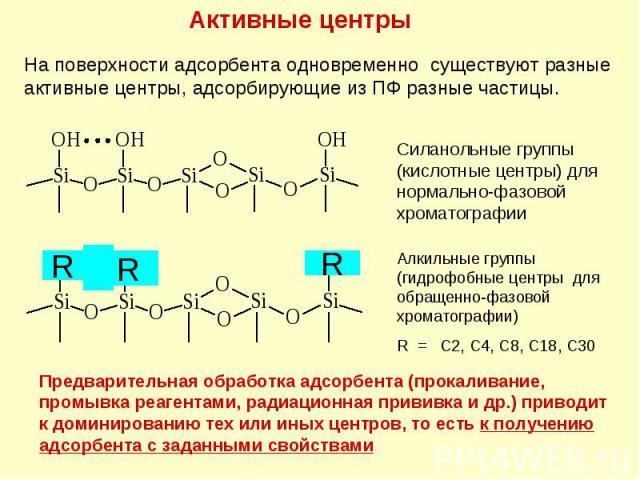 Активные центры На поверхности адсорбента одновременно существуют разные активные центры, адсорбирующие из ПФ разные частицы. R R R Предварительная обработка адсорбента (прокаливание, промывка реагентами, радиационная прививка и др.) приводит к доми…