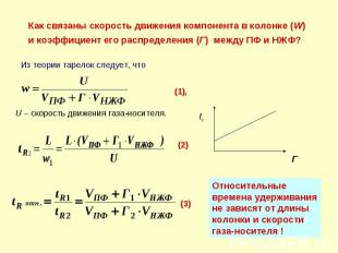 U – скорость движения газа-носителя. (1), Как связаны скорость движения компонен