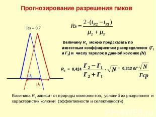 Прогнозирование разрешения пиков μ1 μ2 Rs 0.7 Величина Rs зависит от природы ком