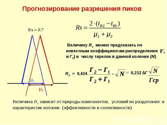 Прогнозирование разрешения пиков μ1 μ2 Rs 0.7 Величина Rs зависит от природы компонентов, условий их разделения и характеристик колонки (эффективности и селективности) μ1 + μ2 Величину Rs можно предсказать по известным коэффициентам распределения (Г…