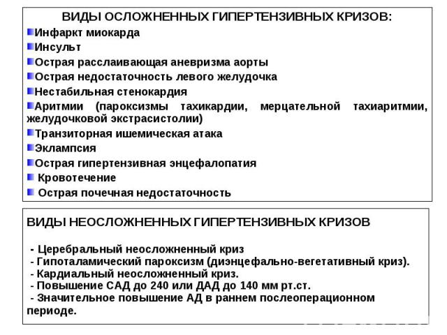 ВИДЫ ОСЛОЖНЕННЫХ ГИПЕРТЕНЗИВНЫХ КРИЗОВ: Инфаркт миокарда Инсульт Острая расслаивающая аневризма аорты Острая недостаточность левого желудочка Нестабильная стенокардия Аритмии (пароксизмы тахикардии, мерцательной тахиаритмии, желудочковой экстрасисто…