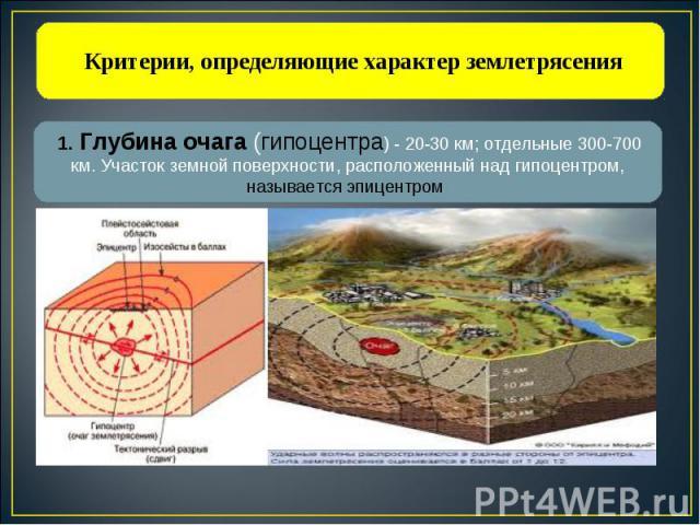 Критерии, определяющие характер землетрясения 1. Глубина очага (гипоцентра) - 20-30 км; отдельные 300-700 км. Участок земной поверхности, расположенный над гипоцентром, называется эпицентром