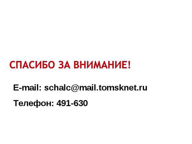 E-mail: schalc@mail.tomsknet.ru Телефон: 491-630
