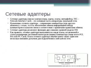 Сетевые адаптеры Сетевые адаптеры (они же контроллеры, карты, платы, интерфейсы,