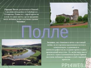 Городок Полле расположен в Нижней Саксонии неподалеку от Сабабурга и Гёттингена.