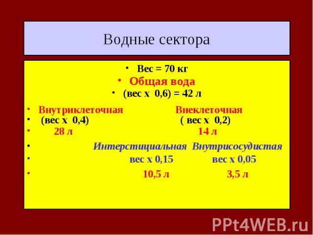 Водные сектора Вес = 70 кг Общая вода (вес х 0,6) = 42 л Внутриклеточная Внеклеточная (вес х 0,4) ( вес х 0,2) 28 л 14 л Интерстициальная Внутрисосудистая вес х 0,15 вес х 0,05 10,5 л 3,5 л