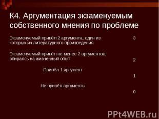 К4. Аргументация экзаменуемым собственного мнения по проблеме Экзаменуемый привё