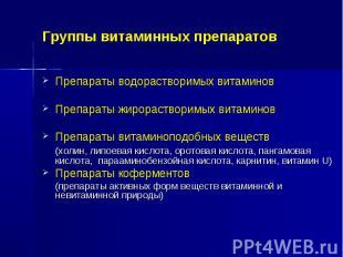 Группы витаминных препаратов Препараты водорастворимых витаминов Препараты жирор