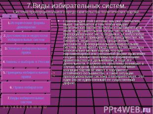 7.Виды избирательных систем. Система пропорционального представительства политич