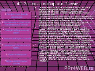 4.2.Законы о выборах в России. 6.В день выборов УИК не принимает и не рассматрив