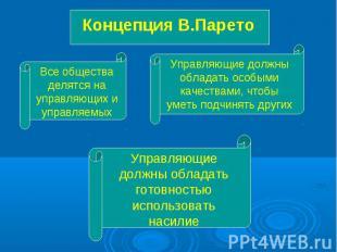 Концепция В.Парето Все общества делятся на управляющих и управляемых Управляющие