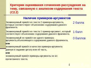 0 баллов Экзаменуемый не привёл ни одного примера-аргумента,объясняющего содержа