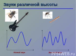 Звуки различной высоты Низкий звук Высокий звук