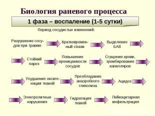 1 фаза – воспаление (1-5 сутки) Ухудшение оксиге-нации тканей Период сосудистых
