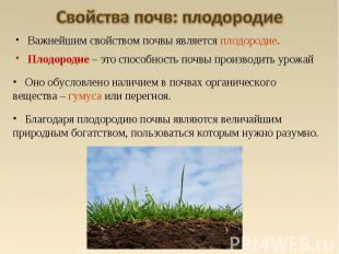 Оно обусловлено наличием в почвах органического вещества – гумуса или перегноя.