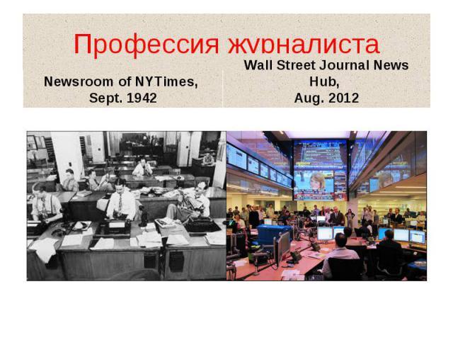 Профессия журналиста Newsroom of NYTimes, Sept. 1942 Wall Street Journal News Hub, Aug. 2012