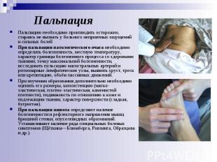 Пальпация Пальпацию необходимо производить осторожно, стараясь не вызвать у боль