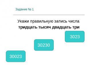 Задание № 1 Укажи правильную запись числа тридцать тысяч двадцать три 30023 3023