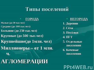 Типы поселений ГОРОДА Малые (до 50 тыс.чел) Средние (до 100 тыс.чел) Большие (до