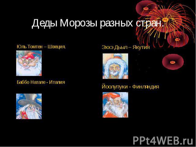 Деды Морозы разных стран.Юль Томтен – Швеция.Баббо Натале - Италия