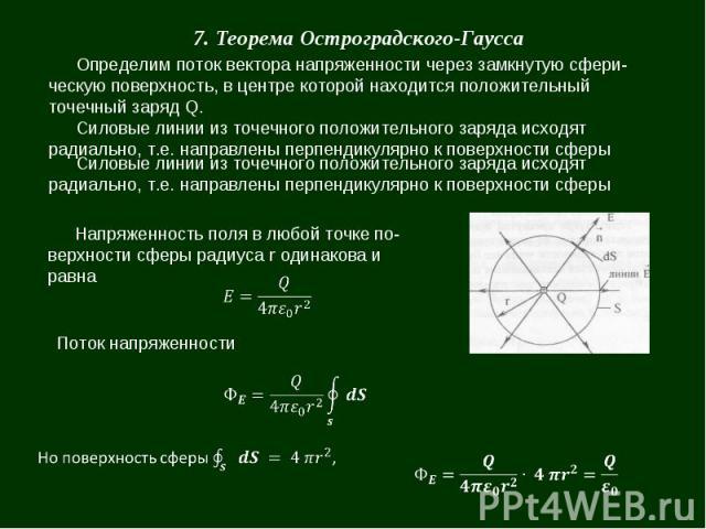 7. Теорема Остроградского-Гаусса Определим поток вектора напряженности через замкнутую сферическую поверхность, в центре которой находится положительный точечный заряд Q. Силовые линии из точечного положительного заряда исходят радиально, т.е. напра…