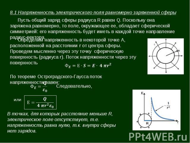 8.1 Напряженность электрического поля равномерно заряженной сферы Пусть общий заряд сферы радиуса R равен Q. Поскольку она заряжена равномерно, то поле, окружающее ее, обладает сферической симметрией: его напряженность будет иметь в каждой точке нап…
