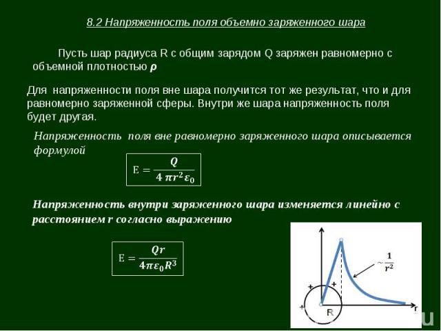 8.2 Напряженность поля объемно заряженного шара Пусть шар радиуса R с общим зарядом Q заряжен равномерно с объемной плотностью ρ Для напряженности поля вне шара получится тот же результат, что и для равномерно заряженной сферы. Внутри же шара напряж…