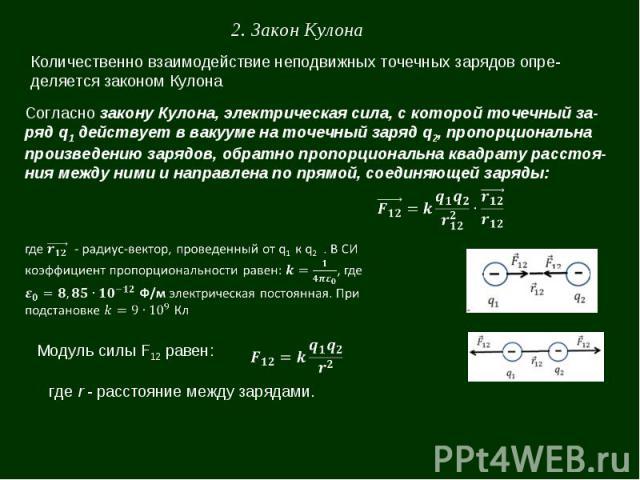 2. Закон Кулона Количественно взаимодействие неподвижных точечных зарядов определяется законом Кулона Согласно закону Кулона, электрическая сила, с которой точечный заряд q1 действует в вакууме на точечный заряд q2, пропорциональна произведению заря…